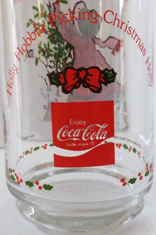 Image 1 of Holly Hobbie Coca Cola Glass Happiest Holidays 1982