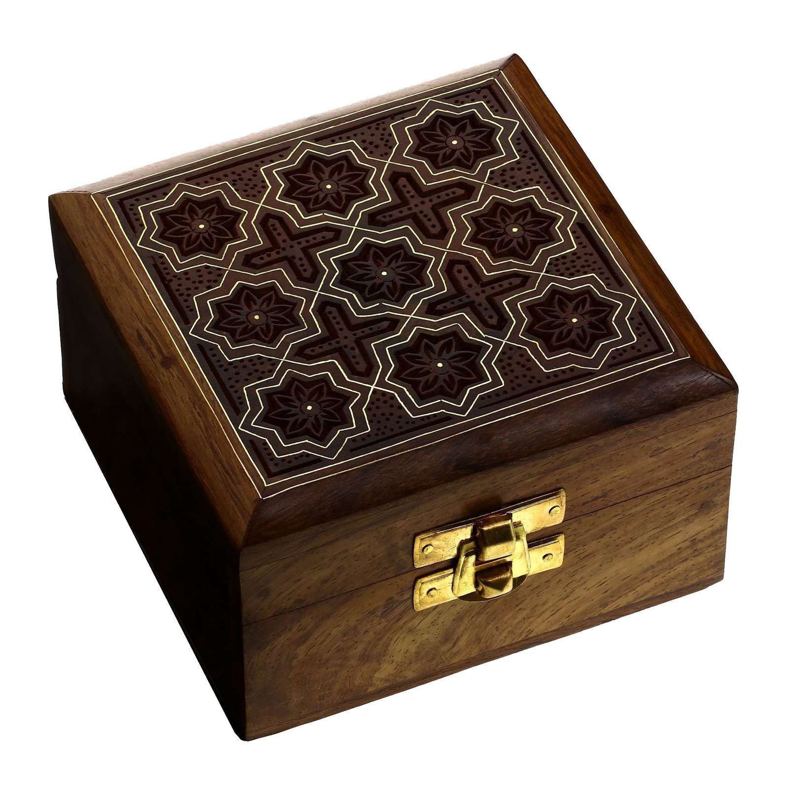 Antique jewelry box wooden anniversary gift portable for Handmade wooden jewelry box