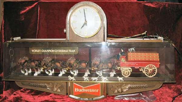 Rare Vintage Budweiser Clydesdale Horse Clock light