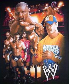 WWE Wrestling Black Shirt Boy's 8 NEW John CENA Batista ...