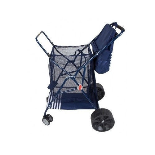 Folding Beach Carts With Big Wheels Cooler Chair Umbrella Holder Rolling Cart