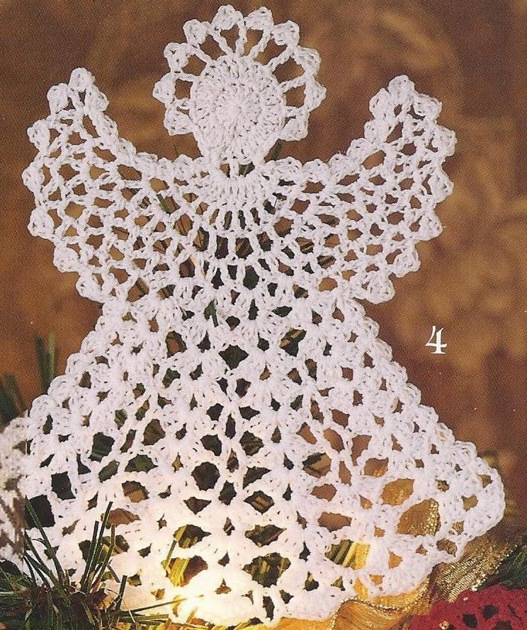 Crochet Patterns Free Angel : 21 Thread Crochet Christmas Tree Ornaments Angel Snowflake ...