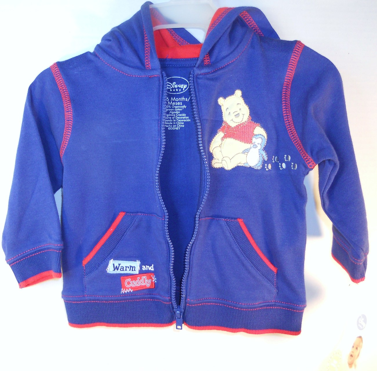 Image 3 of Disney Child Baby Navy red Warm-up suit 3/6 months Winnie the Pooh
