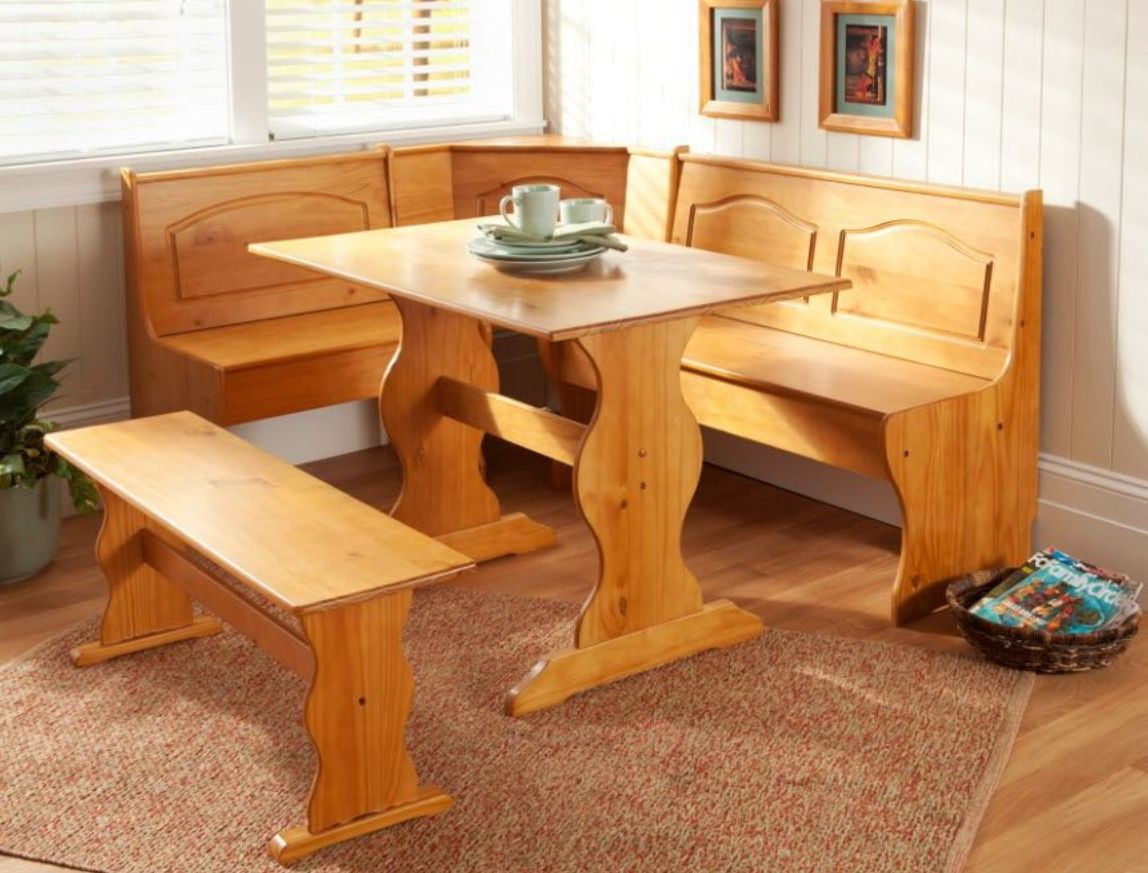 Kitchen Breakfast Nook Set Corner Booth Wood Dining Room Table Bench ...