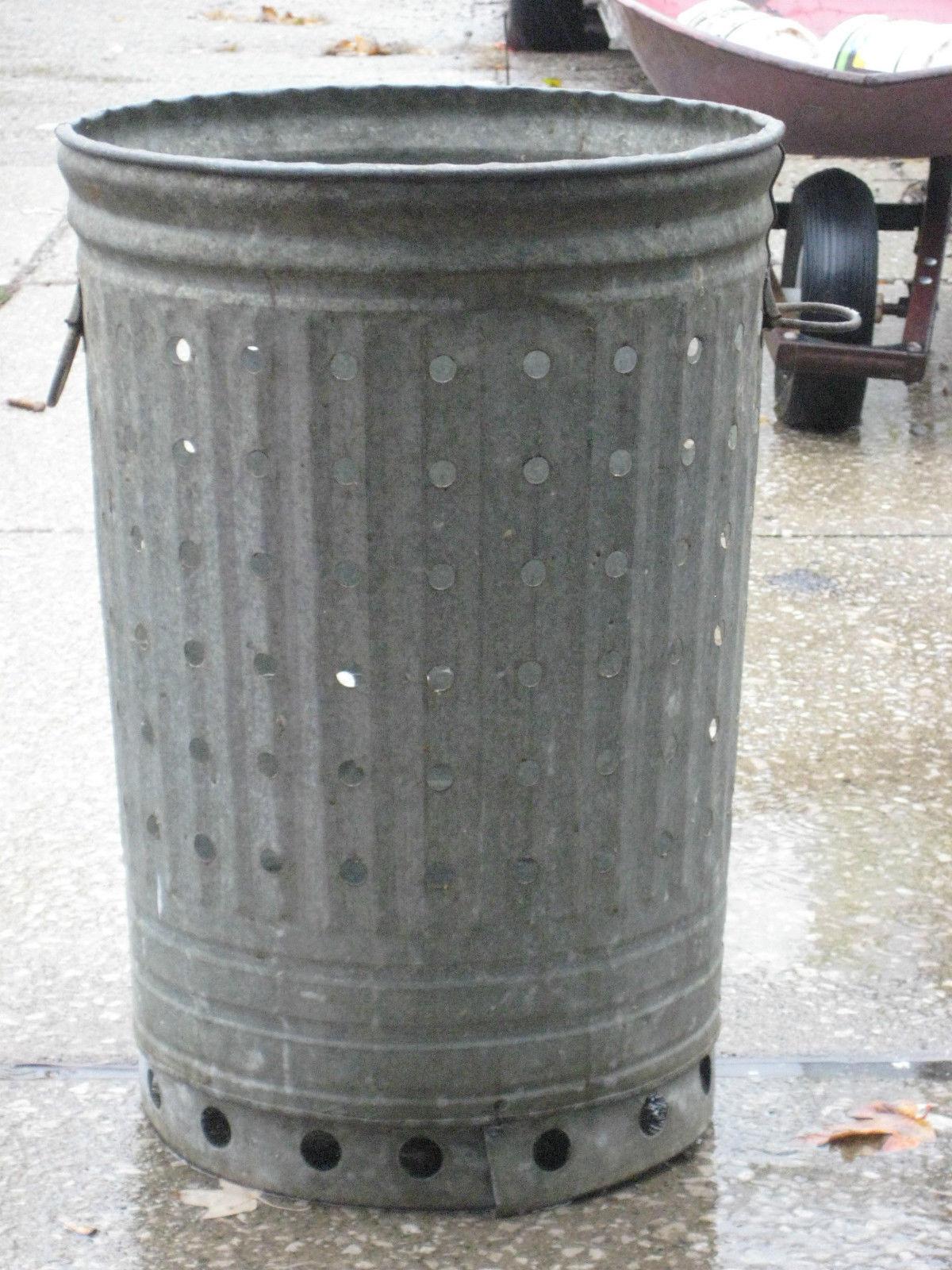 Aluminum Trash Cans : Vtg galvanized trash can w air holes industrial metal