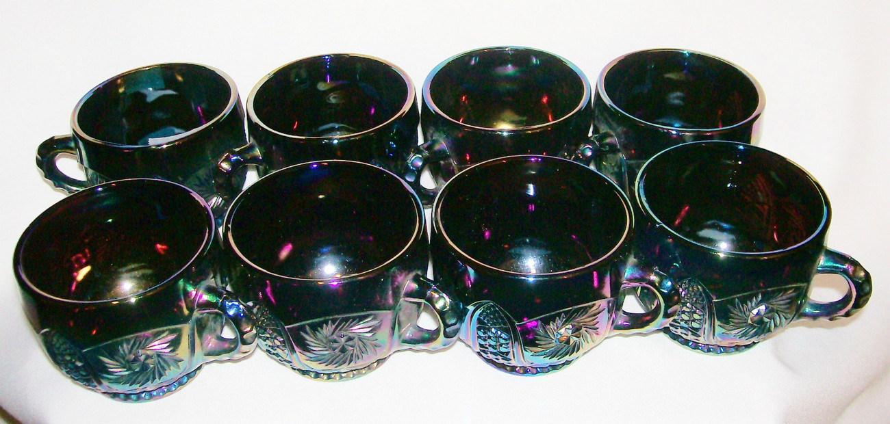 L.E.Smith Carnival glass Punch cups LOT 8 Galaxy Starburst Amethyst Iridescent