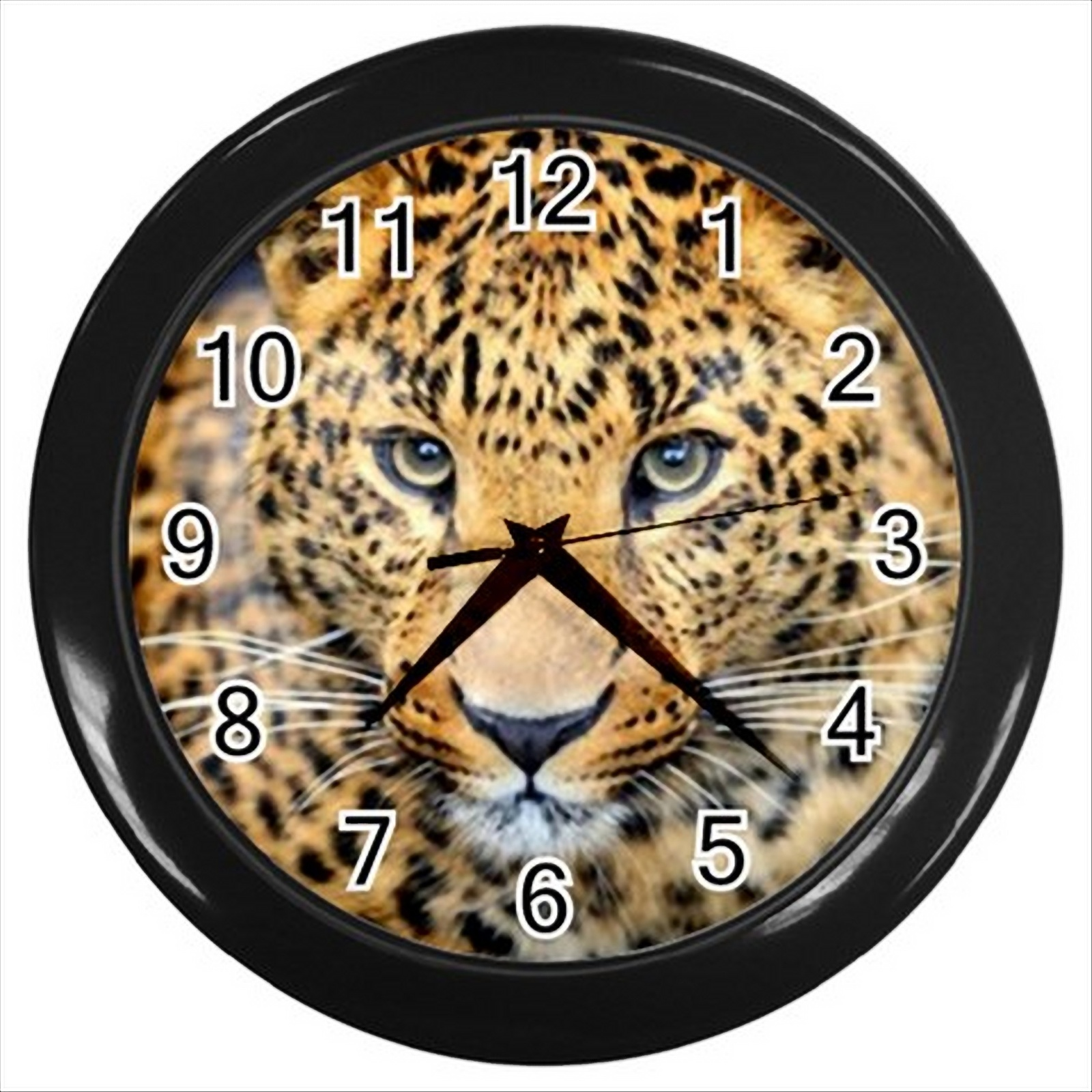 Round Black Wall Decor : New beautiful leopard round black wall clock decor gift