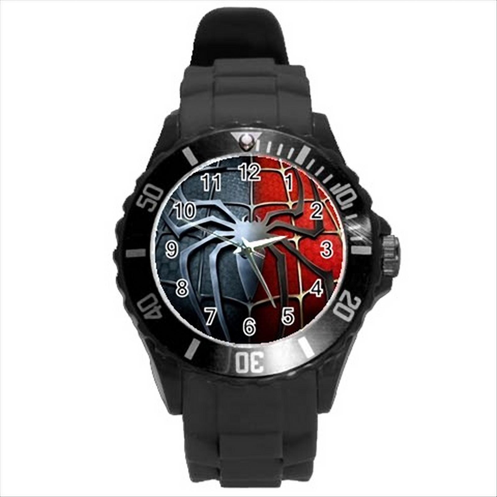 NEW* HOT SPIDERMAN LOGO Unisex Black Round Sport Wrist ...