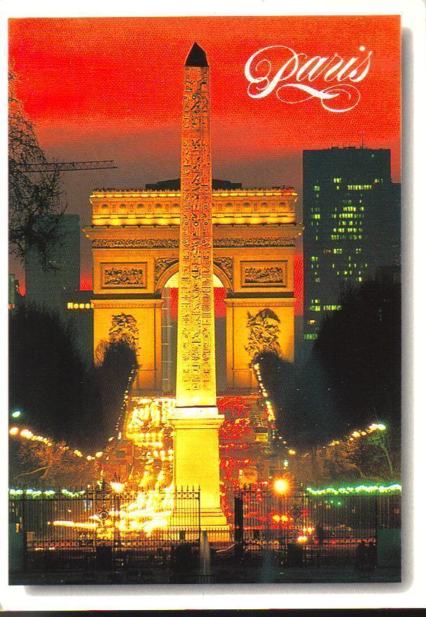 The Arch and the Obelisque, Paris, France Postcard
