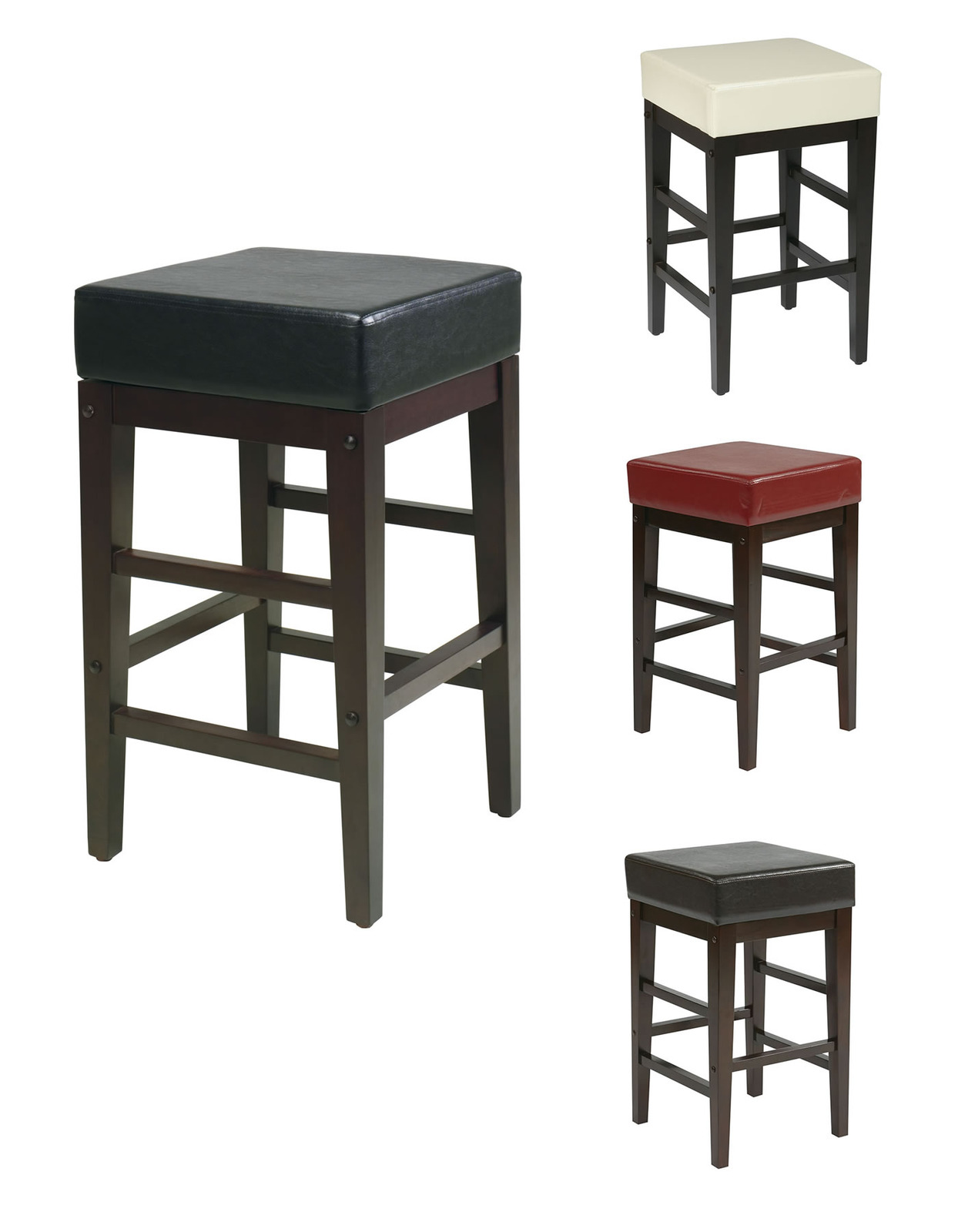 Superb img of 25H Seat Faux Leather Seat Wood Legs Bar Breakfast Counter Stool Chair  with #6B3630 color and 1244x1600 pixels