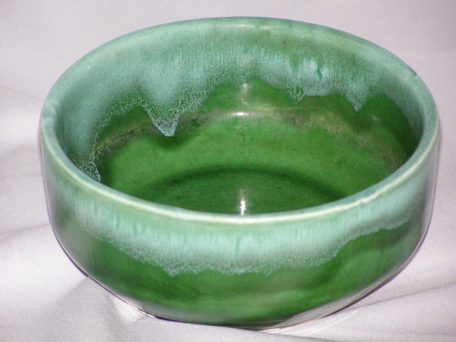 California pottery green bowl planter ceramic marked for Affordable pools pearl river la