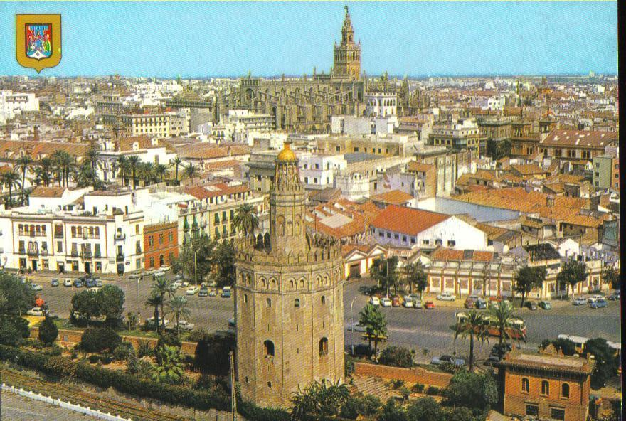 Torre del Oro and Cathedral  Seville, Spain Postcard