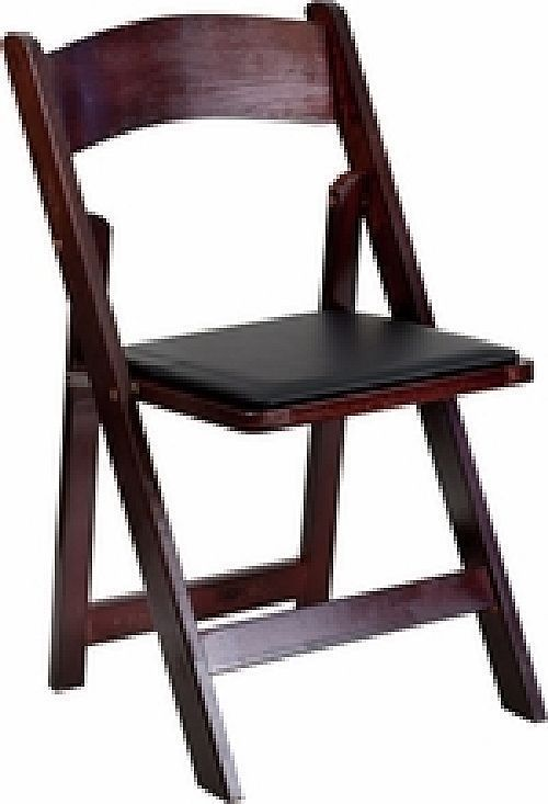 LOT OF 12 NEW MAHOGANY STAIN WOOD FOLDING CHAIR WITH BLACK VINYL PADDED SEA