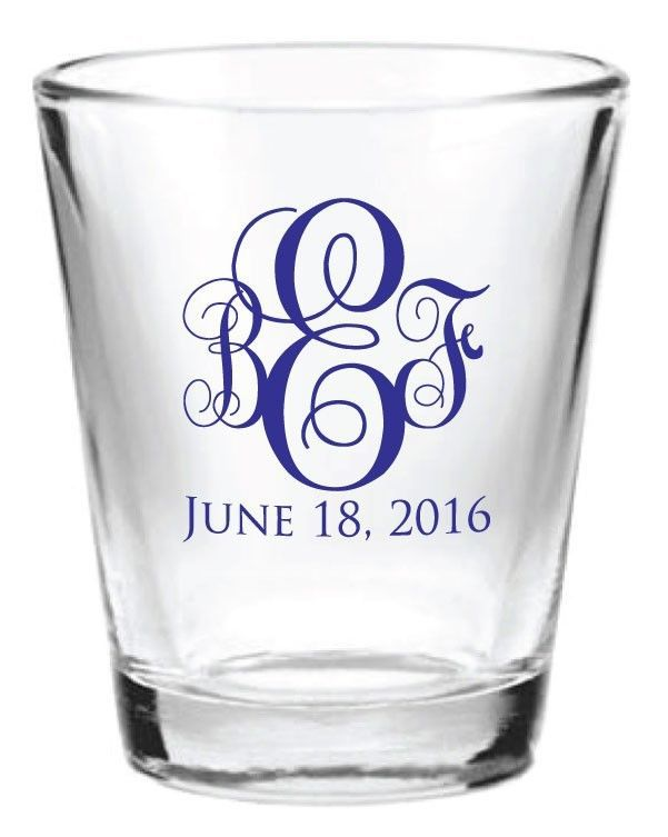 48 personalized 1 5oz glass wedding favor shot glasses new initial
