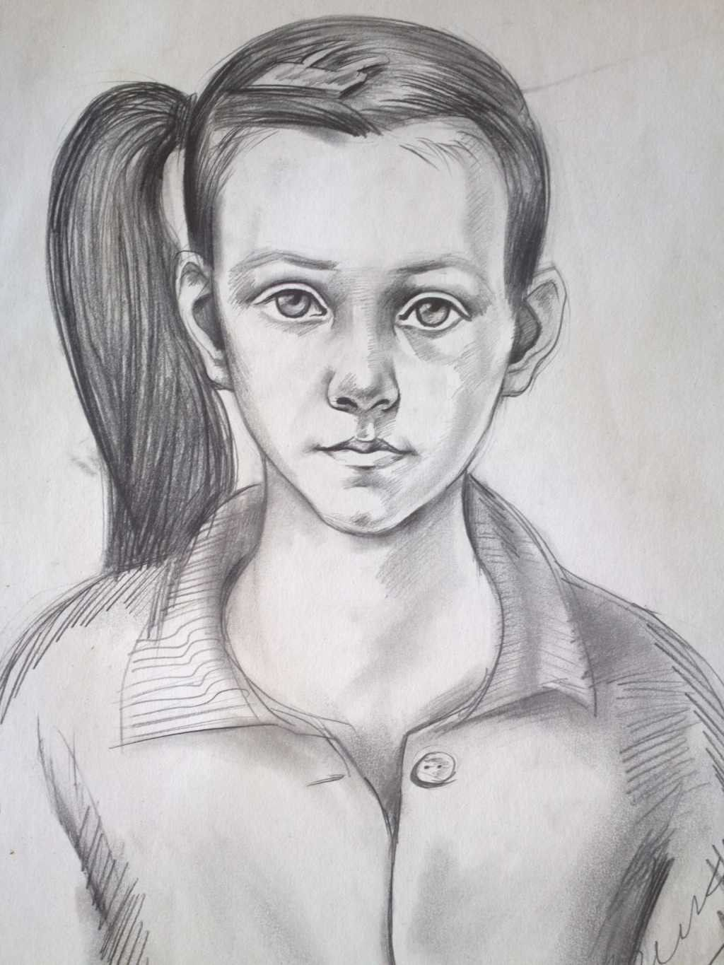 Portrait of a girl drawing the image for Girl drawings in pencil