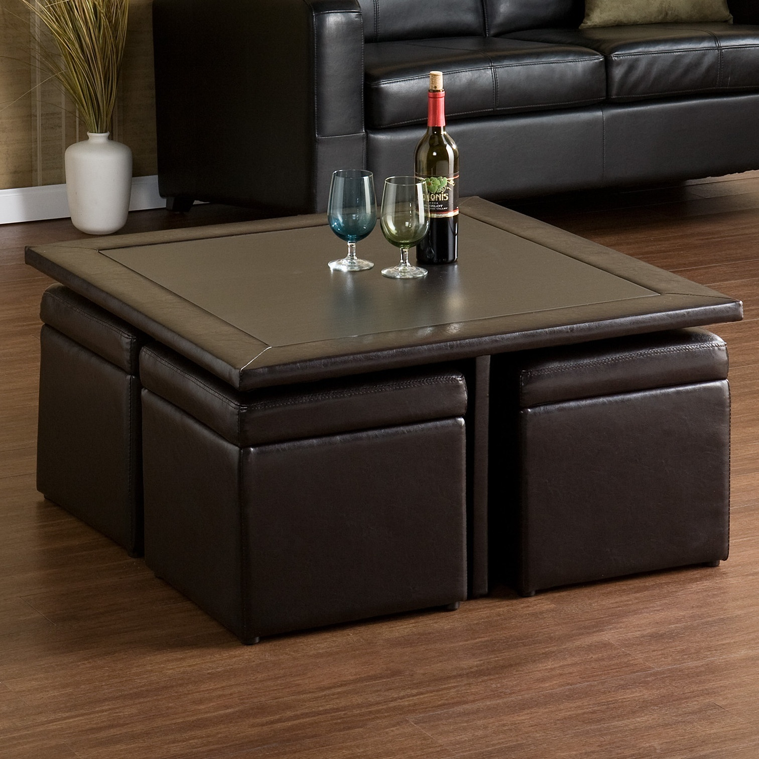 Coffee Table Storage W Ottomans Living Room Office Den Faux Leather