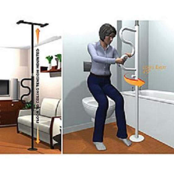 pole curve grab bar bathroom safety restroom elderly assist help stand