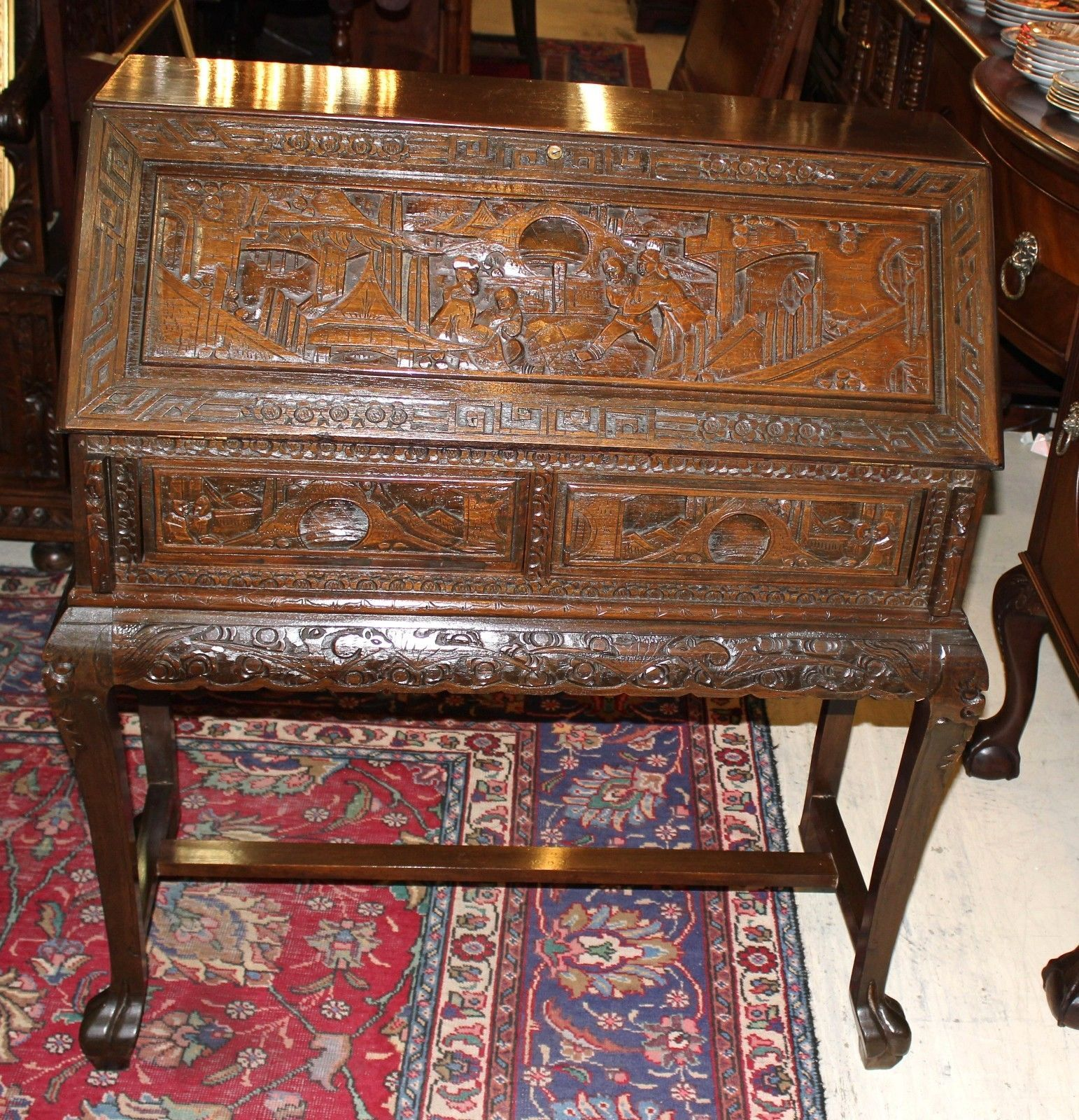 Antique Carved Chinese Drop Front Writing Desk Secretary 1800 1899