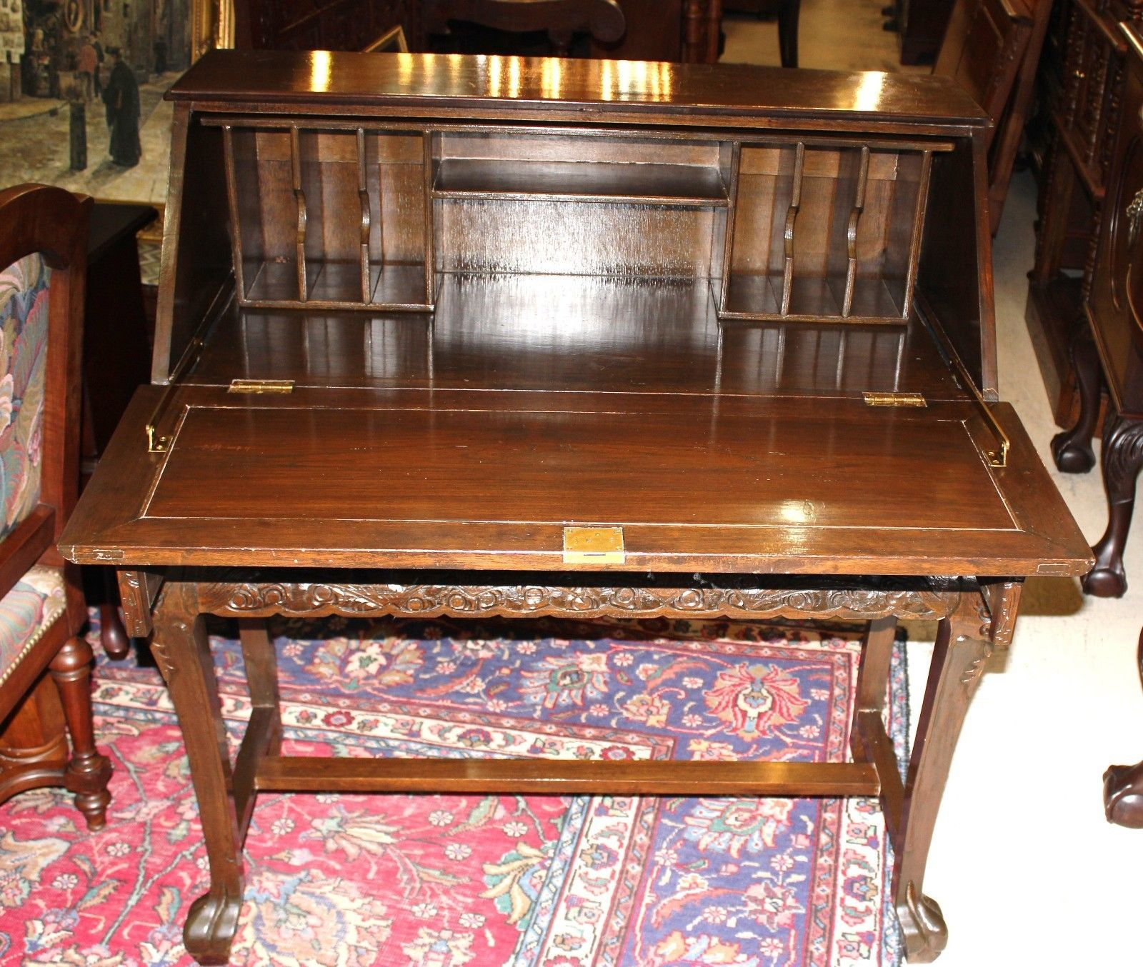 Antique Carved Chinese Drop Front Writing Desk Secretary