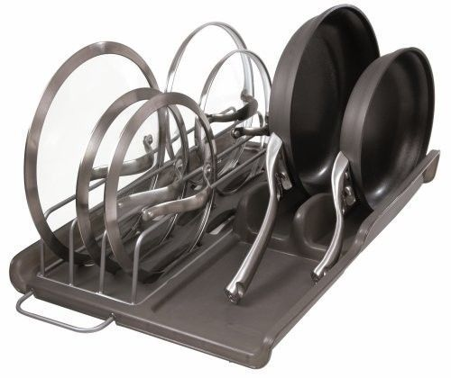 pan organizer rack pot kitchen storage holder cookware hanging lid cabinet shelf racks holders. Black Bedroom Furniture Sets. Home Design Ideas