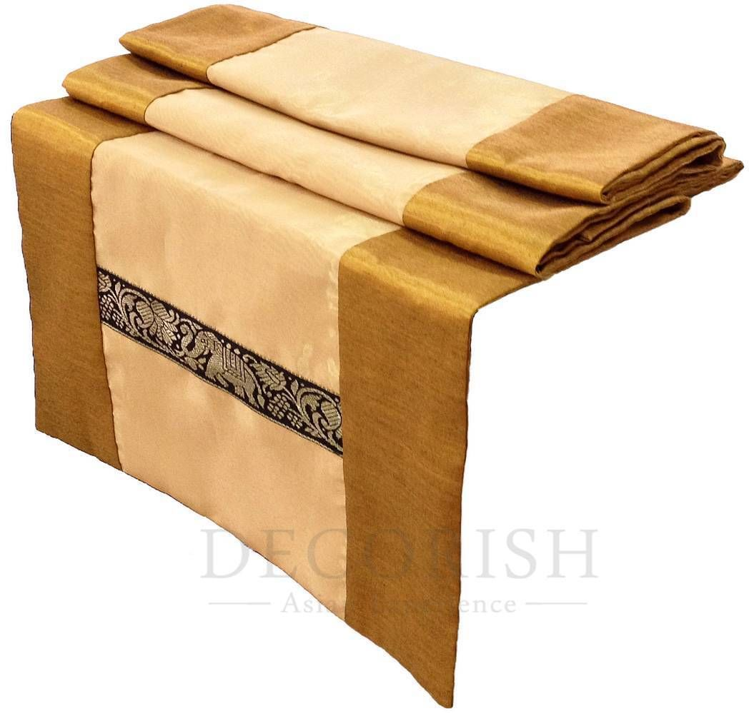 Gold yellow thai elephants rectangular silk wedding bed for Table runners 52 inches