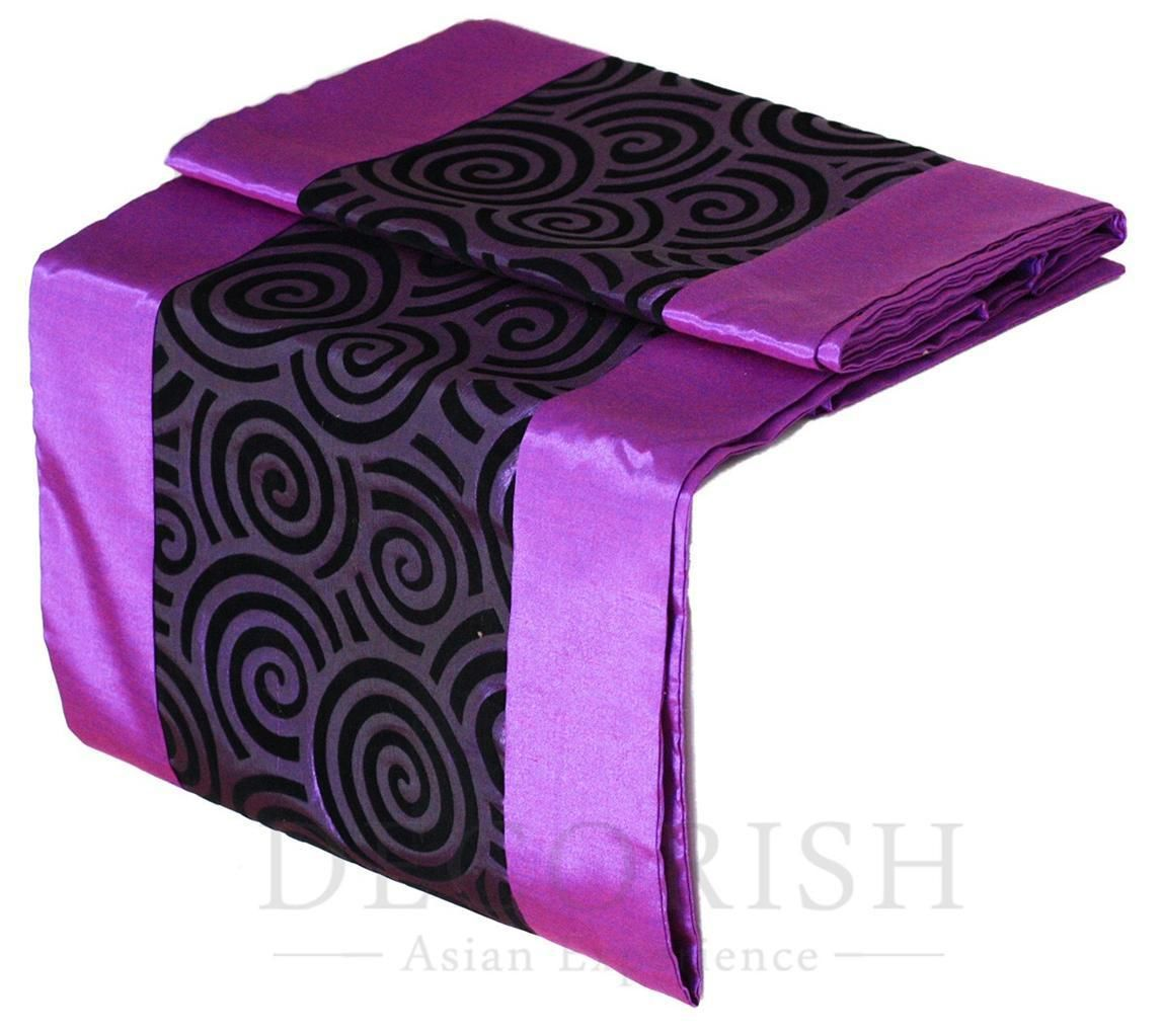 Violet purple modern rectangular silk decorative table bed for 120 inches table runner