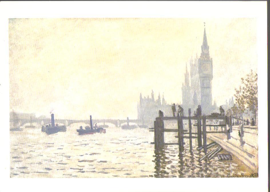 The Thames Below Westminster Art Print Postcard
