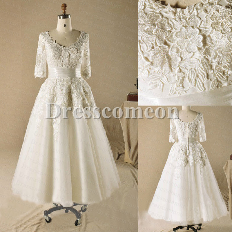 Ball gown plus size tea length with sleeves ivory lace for Plus size lace wedding dresses with sleeves