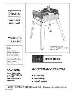 craftsman router 315.17380 manual