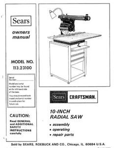 Sears Craftsman Radial Arm Saw Manual Many Models Available - Manuals