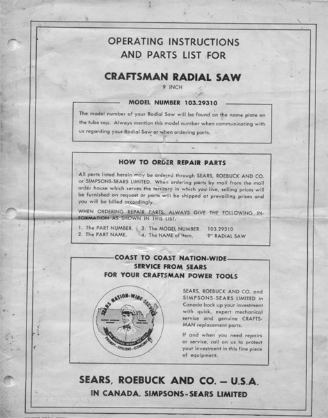 Sears Craftsman Radial Arm Saw Manual Many Models Avail - Manuals