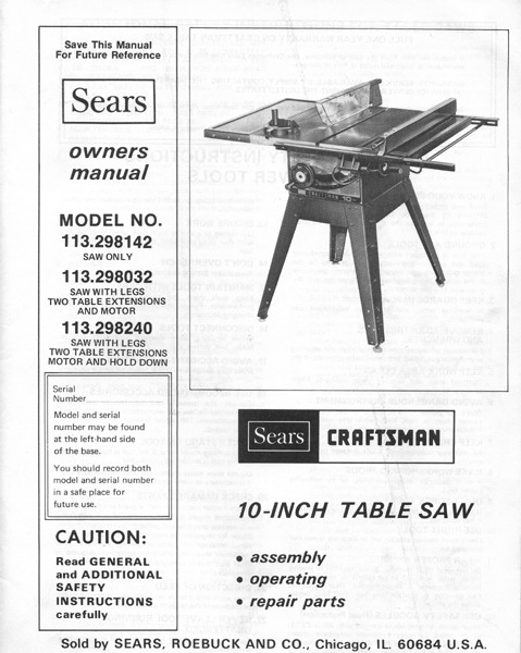 sears craftsman table saw owners manual many models. Black Bedroom Furniture Sets. Home Design Ideas