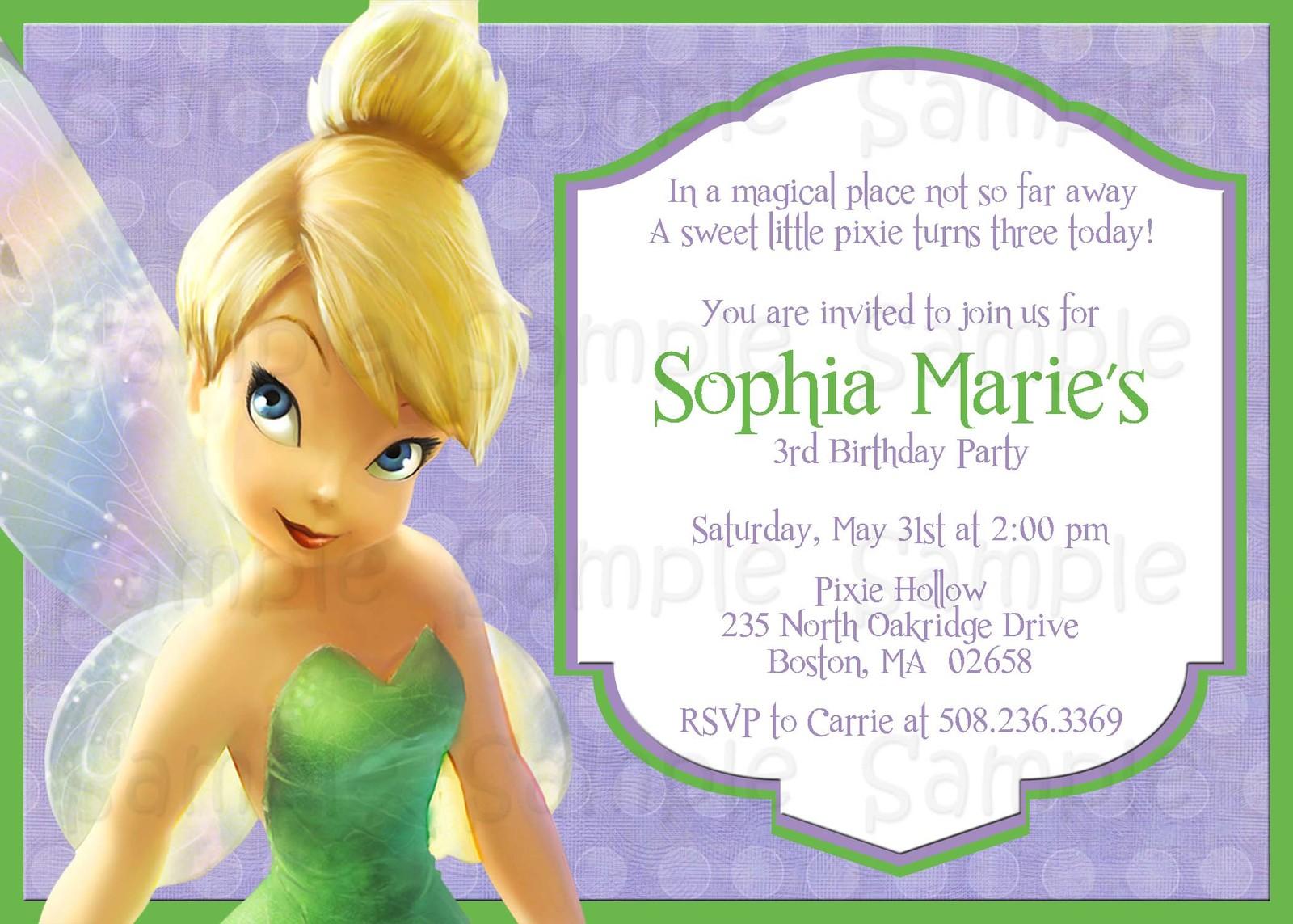 Tinkerbell Invitation Background Disney Cars Birthday Party