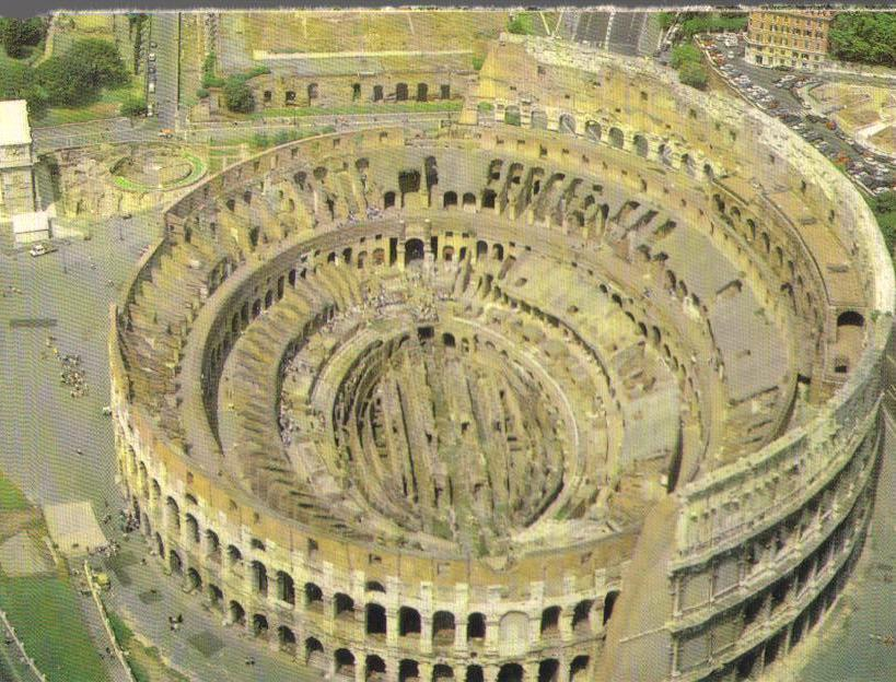 The Colosseum, Aerial View - Rome, Italy Postcard