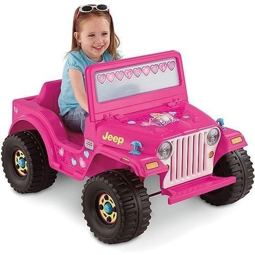 Pink electric barbie jeep #4