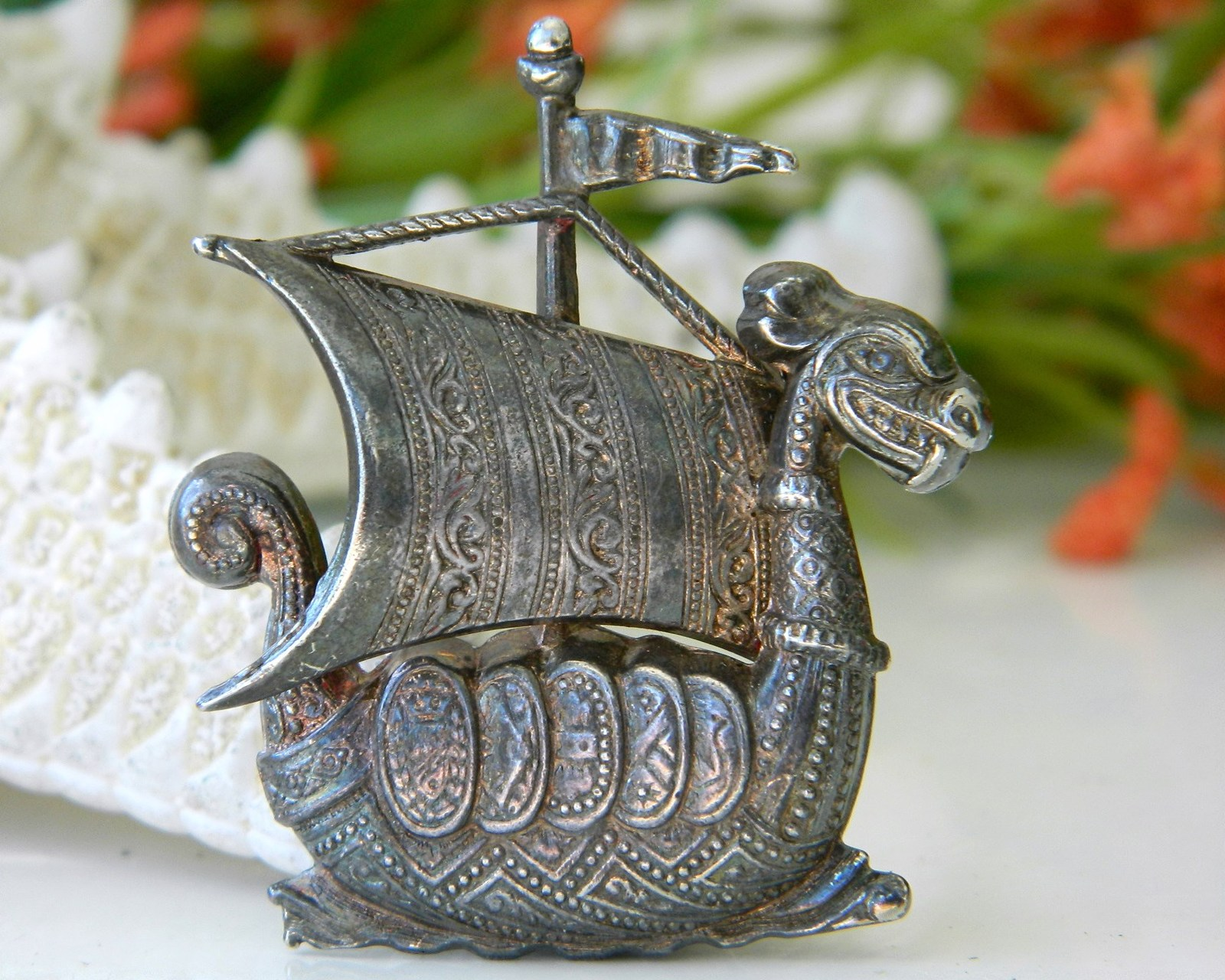 Dragon Viking Ship Sailboat Vintage Figural Pin Brooch Spain Metal