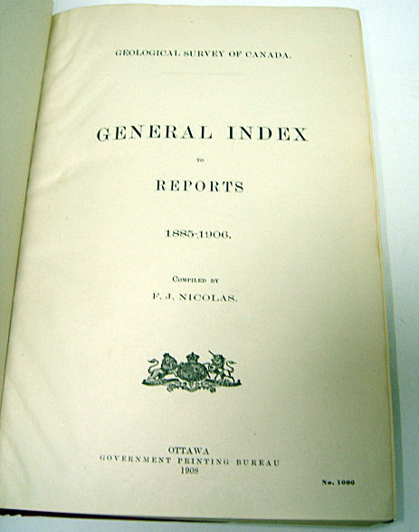 Geological Survey Canada Index to Reports 1908 1st ed, used for sale