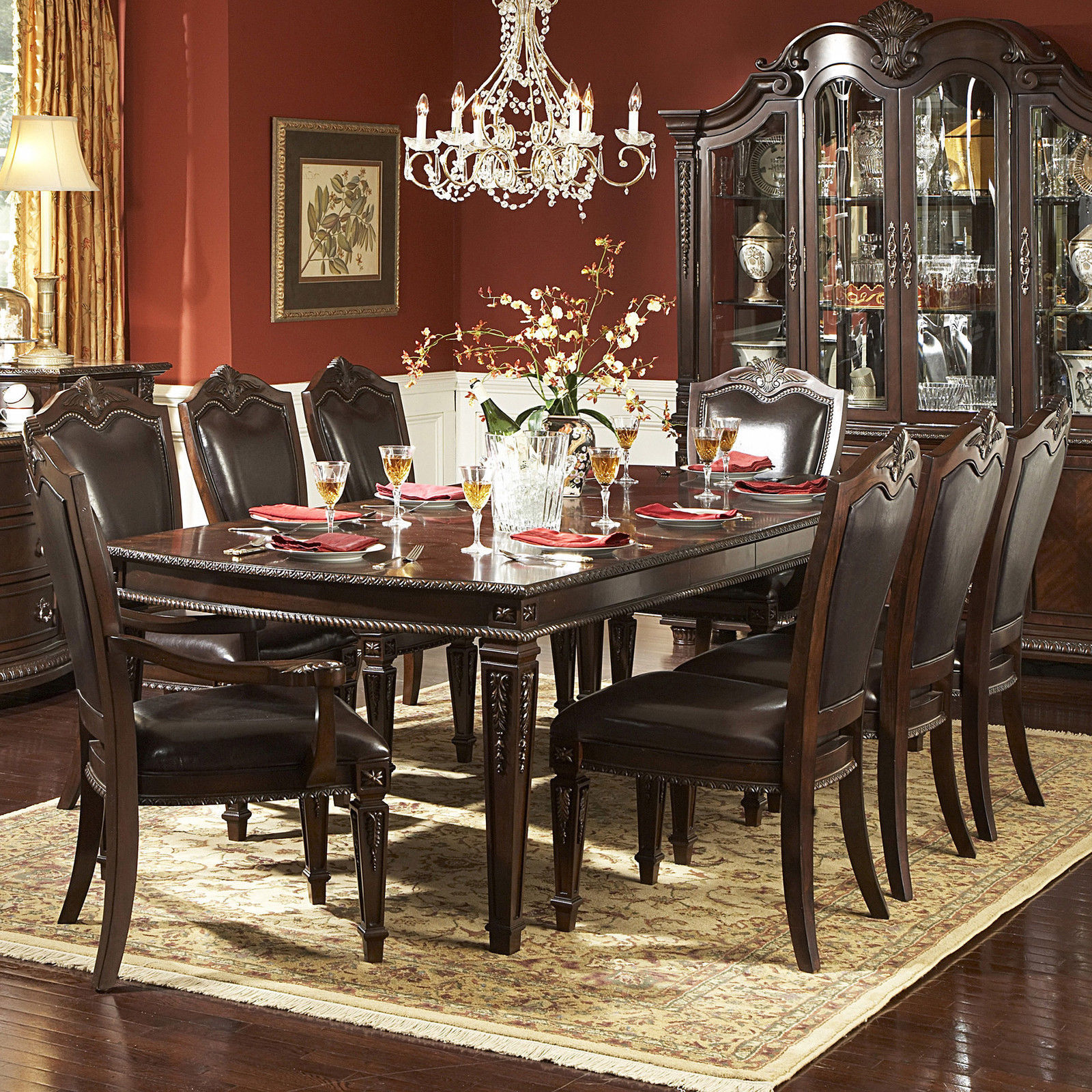 elegant antique 9 piece dining room furniture set w extendable table