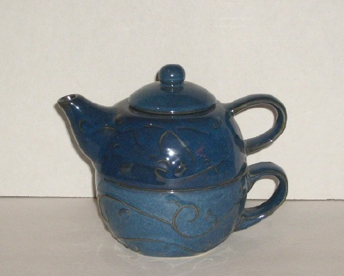 Pier 1 Pottery Blue Teapot Tea Pot 2 Piece Stacking Set