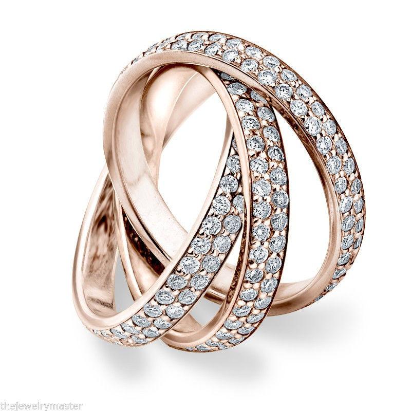 DIAMOND ROLLING ETERNITY BAND WEDDING RING ROSE GOLD 3 CARAT MICRO PAVE SET