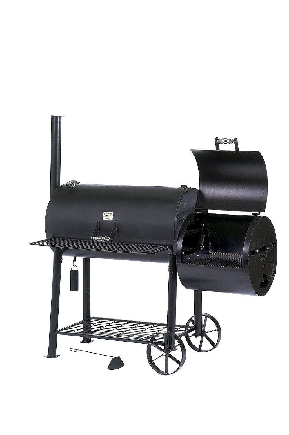 new jumbo charcoal smoker grill combo w side box patio. Black Bedroom Furniture Sets. Home Design Ideas