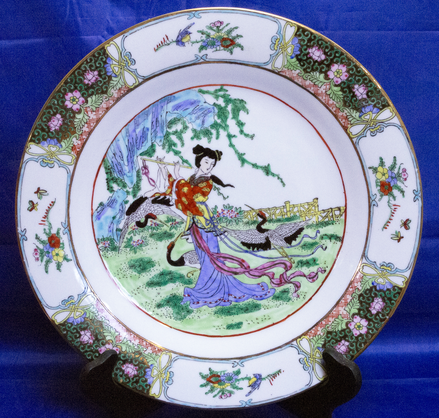 Beautiful Large Hand Painted Decorated Porcelain Plate