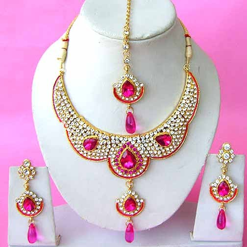 Indian bridal jewelry wedding set diamond pink color for Pink wedding jewelry sets