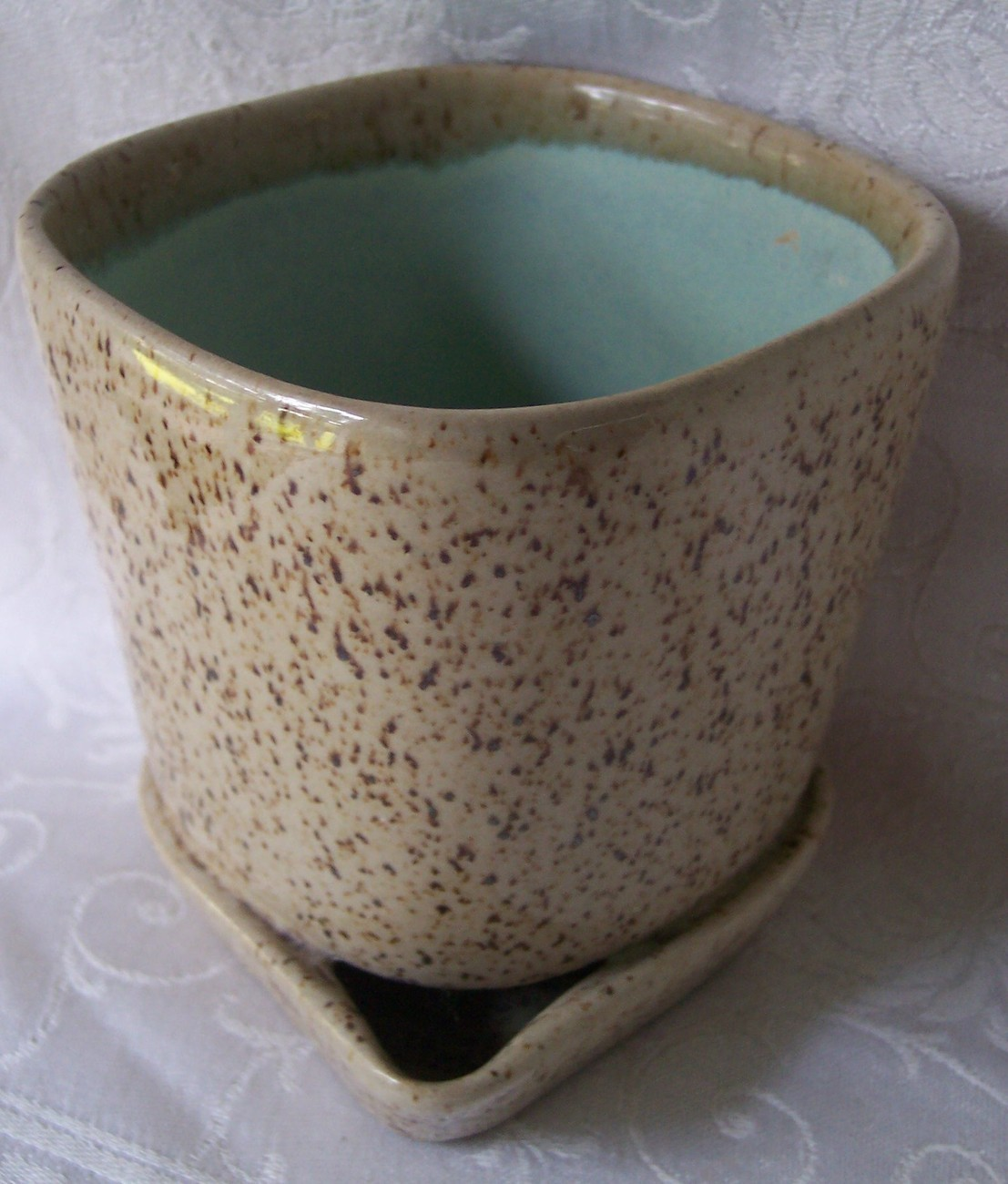 Glidden_art_pottery_planter_brown_speckled_truquoise3
