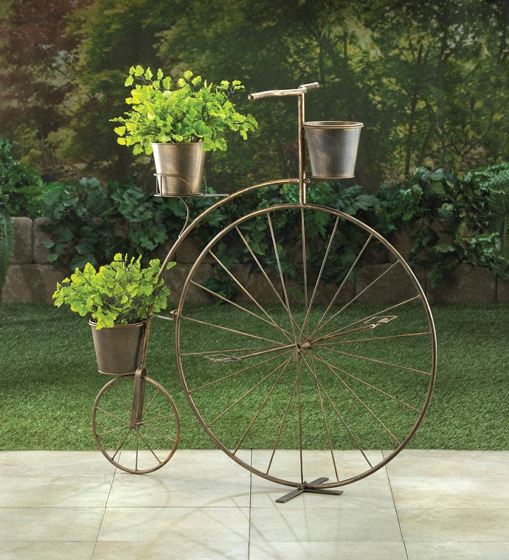Bicycle plant stand with 3 flower pots plant stands - Bicycle planter stand ...