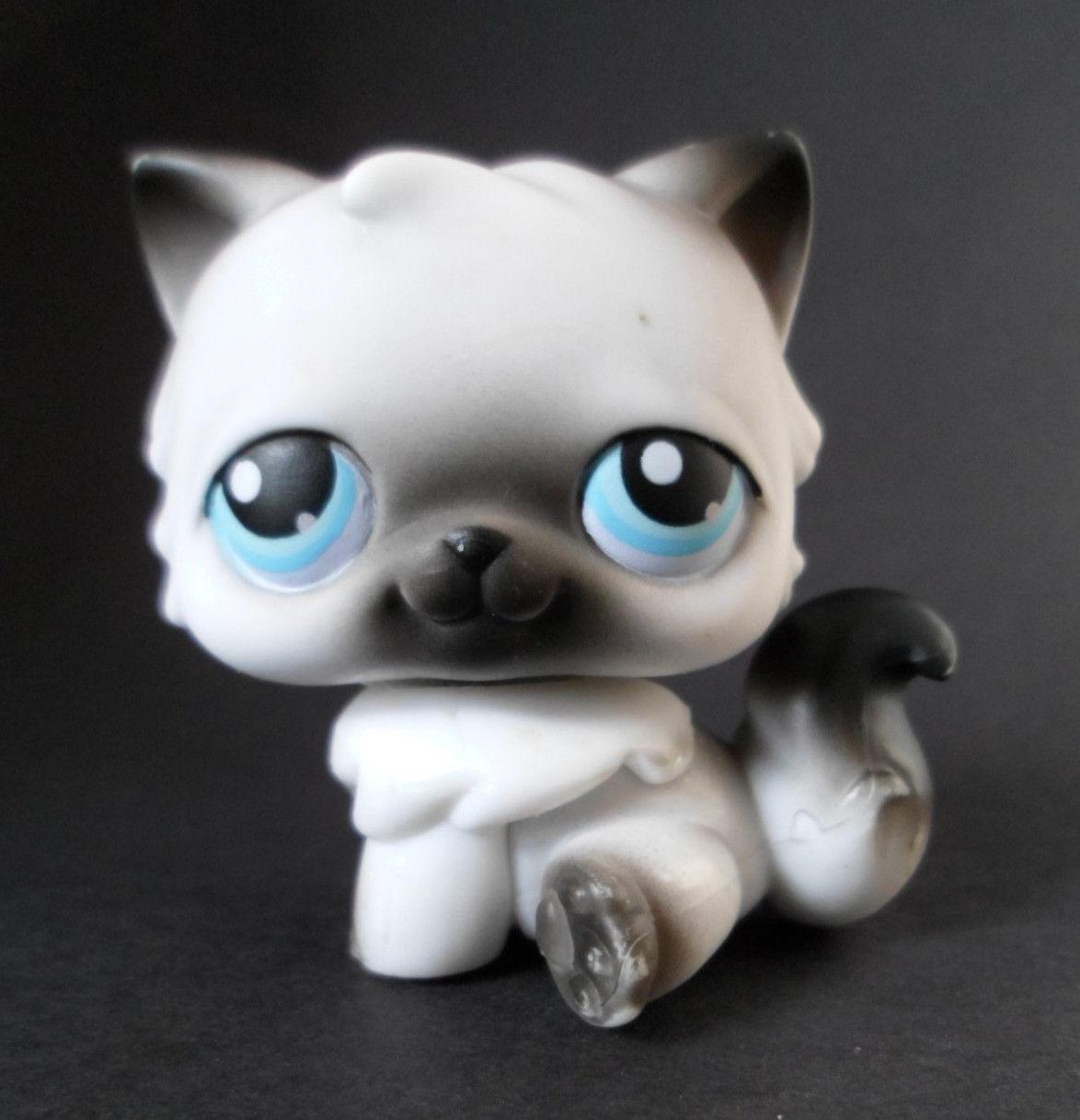 ... 60 Gray Black & White Persian Kitty Cat Blue Eyes - Littlest Pet Shop