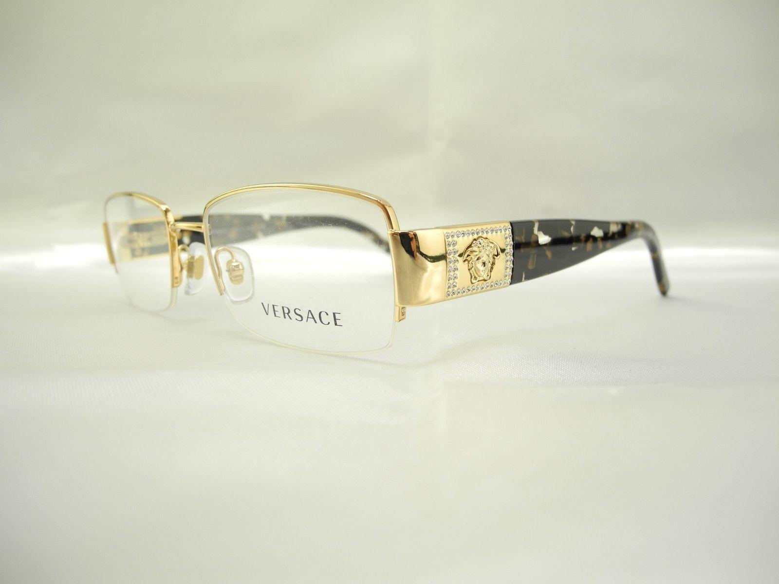 Versace Eyeglass Frames With Rhinestones : New Versace 1175-B 1002 Gold Rhinestone Metal Semi ...