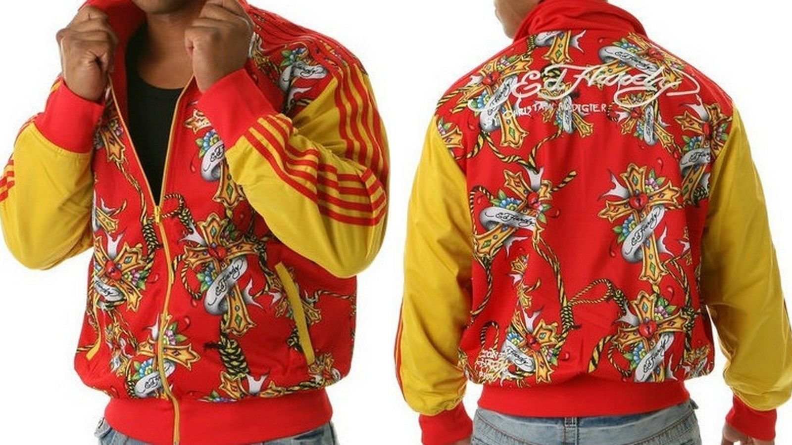 Ed Hardy Home Decor New Ed Hardy Red Yellow Track Jacket Peace Cross Sizes