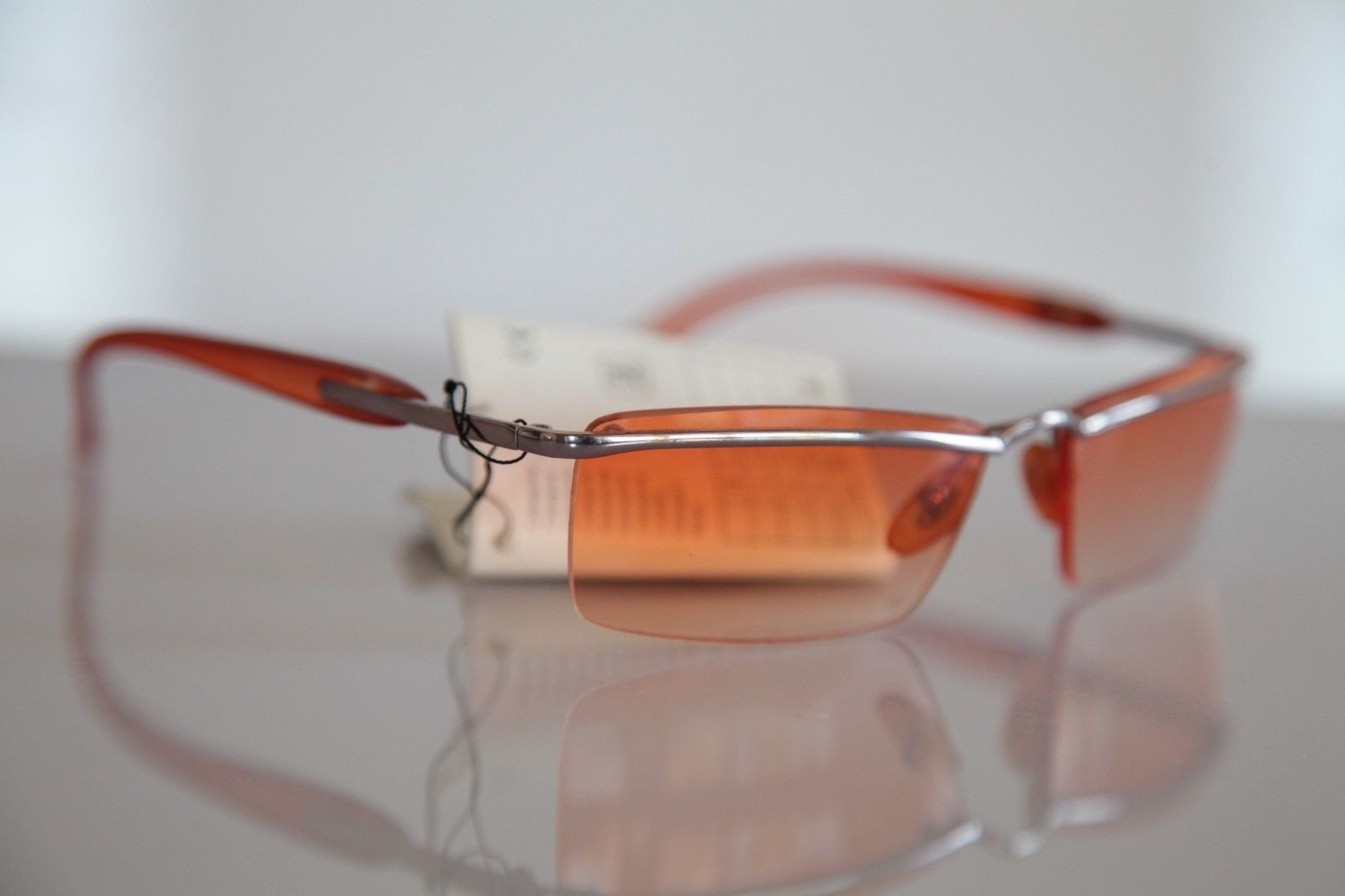 Chrome Rimless Frame, Smoke Orange, Orange lenses - Sunglasses
