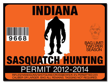 Sasquatch hunting permit license decal sticker cummins for Fishing license indiana